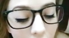 Teen with glasses lets her bf cum in her mouth