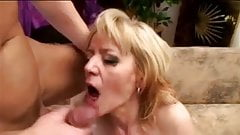 Saggy granny masturbate and gets fucked