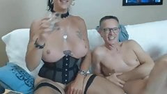Busty Tranny Take Turns in Cock Sucking with Lover