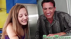 Cum loving teen makes her stepdad a very happy man
