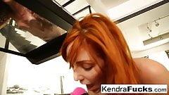 Kendra and Lauren work a big cock