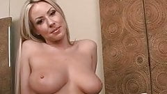Busty blonde strips and spreads pussy by machine