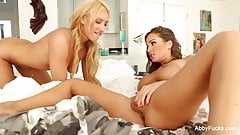 Abigail Mac & Addison Ryder lick each other