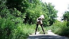 Crossdresser posing outdoor
