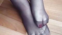 Nylon foot tease