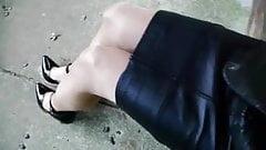 japanese crossdresser leather skirt 2