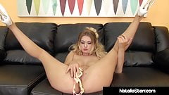Sexy Blonde Natalia Starr Creams While Dildo Fucking!