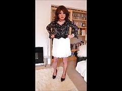 Short white pleated skirt