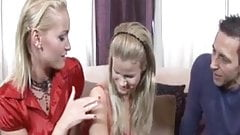 Stepmom and young beauty sharing big hard cock