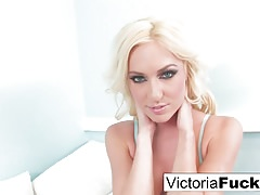 Victoria shares her long legs, great face and a wet pussy