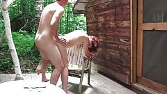 Hot couple shaging at their cabin in the woods's Thumb