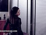 Shemale Camilla Jolie in bondage dominating slave with latex