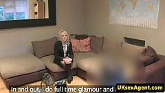 Blonde british amateur rides casting agent