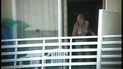 Real Voyeur - Full Frontal Nude Blonde in Balcony
