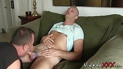 Horny twink Kirby loves being fucked bareback on the sofa