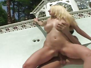 Curvy blonde seduces pool cleaner to bang her by the pool