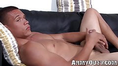 Solo black soldier Ken solo wanks off and prepares to cum