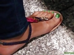 Candid ebony green toes at work 6