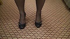 my wifes legs and feet in blackk ff nylons 1