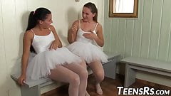 Naughty young ballerinas toying pussies in the shower