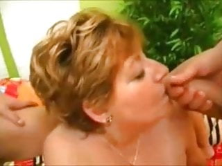 BBW Granny enjoying two young cocks