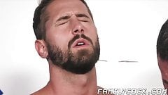 Inked hunk raw fucks handsome young homos in stepfamily 3way