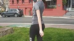candid teen walking inspandex