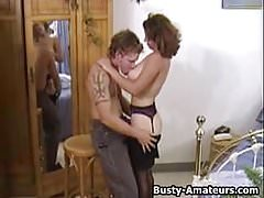 Busty amateur Serena sucking and fucking