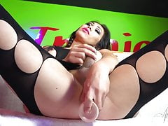 Amazing body tranny Nina StrongHold in a body stocking!