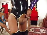 Shemale in latex BDSM orgy