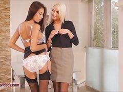 Long Leggy Beautiful Blonde and Brunette pornstars