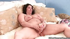 Granny with milk leaking nipple fucks a dildo