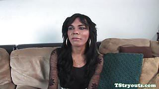 Wanking ts amateur sucks cock at casting