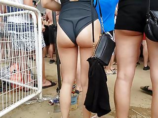 Candid nice ass slut in one piece!!
