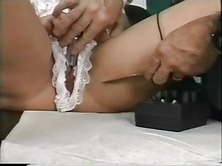 Mature older guy loves to play with electric stim toys on younger slut