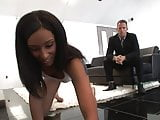 Stud gets horny for the gorgeous ebony cleaner and fucks her