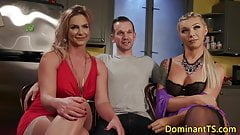Transgender babes analfuck and cocksuck trio
