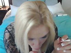 Sexy Blonde smoking dildo tease