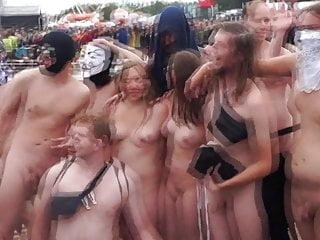 Naked mile run festival public finish nudist pose photograph