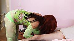 Green corset sissy blowjob