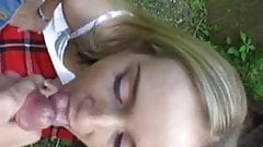Cute blonde gets fucked outdoor