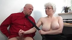 Office MILF gives harsh handjob
