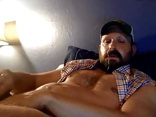 Bearded Trucker Self Facial Jerk Off & Cum