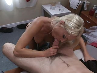 Gorgeous blonde babe rides a big hard cock