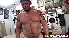 Hunky biker sells ass to hung perv for money in office