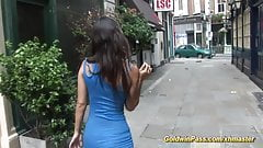 young busty teen shows all on street