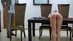 Severe caning of very slim blond girl. Caning to nice tears.