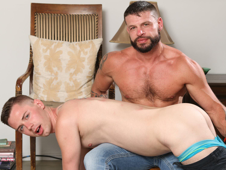 Brunette guy masturbates cock