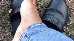 Ebony feet outside