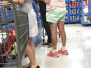 Sundress stuck in white ass crack p4 checkout line